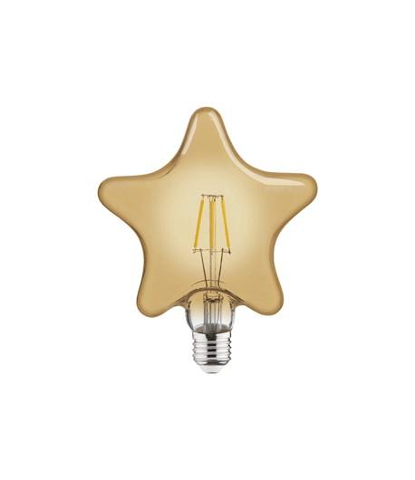 Lámpara star de filamento LED E27 6W 2200K